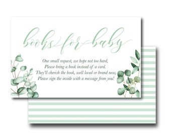 Baby Shower Book Request, Library, Printable insert; gender neutral greenery