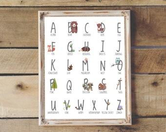 Woodland Nursery Alphabet Poster | Instant Download