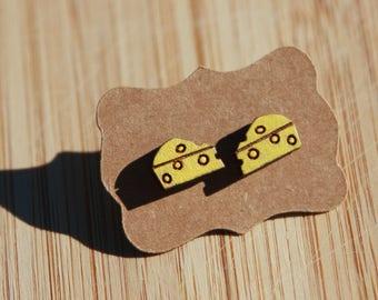 Cheese earrings, wooden studs