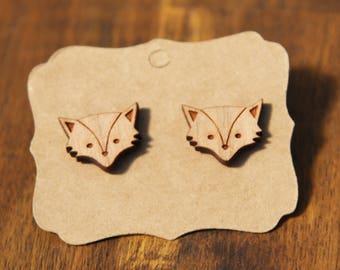 Fox earrings, laser cut wood