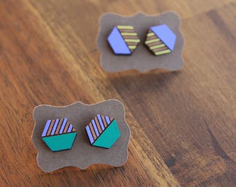 Geometric hexagon earrings, laser cut wood