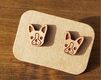 French bulldog earrings, laser cut wood earrings