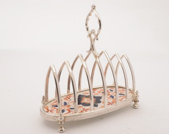 Victorian China and Silver Plated Toast Rack, Circa 1890
