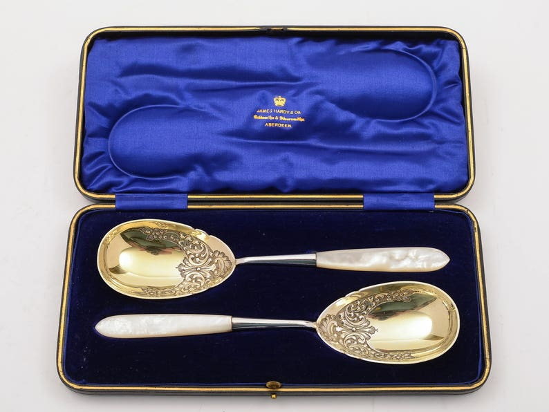 Edwardian Cased Pair of Serving Spoons Circa 1905
