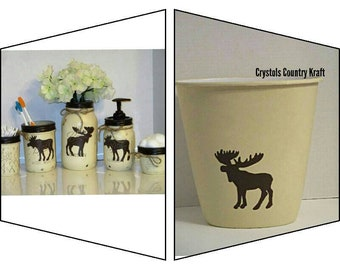 Moose Wildlife Toothbrush Holder Ceramic Rustic Modern Stand Fun Bathroom Decor
