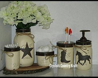 Western Bathroom Decor, Cowboy Toothbrush Holder, Western Star Vase And  Horse Soap Dispenser, Cream And Brown Bathroom Decor, Mason Jar