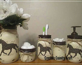 Attrayant Horse Bathroom Storage Set, Horse Soap Jar, Horse Toothbrush Holder, Horse  Vase, Cream And Brown Bathroom, Distressed Mason Jar Rustic Decor