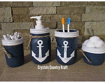 Anchor Bathroom Decor, Beach Bathroom Set, Nautical Bathroom, Anchor,  Sailor Soap Dispenser, Toothbrush Holder, Distressed Mason Jars