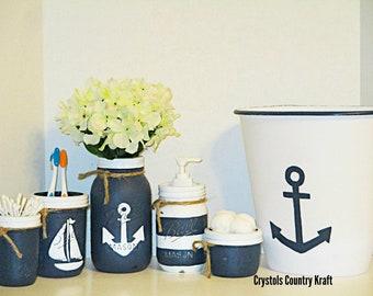 ab90c500 Navy Blue Beach theme bathroom, nautical bathroom set, sailboat, anchor,  strips, soap dispenser, toothbrush jar , anchor trash can