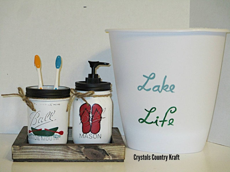 Lake Life Bathroom Decor, Fishing Boat Toothbrush Jar, Flip Flop Soap Jar,  Lake Life Trash Can, Fishing Lake Bathroom Set, Flip Flop Decor