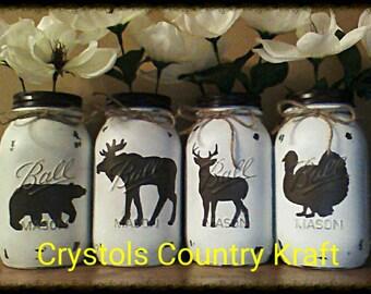 Set of 4 Woodland animal vases, Rustic vases, deer vase, bear vase, turkey vase, moose vase, centerpieces, rustic decor, painted mason jars,