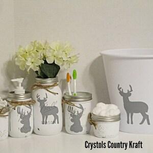Deer Bathroom Storage Set White And Gray Bathroom Deer Soap Etsy