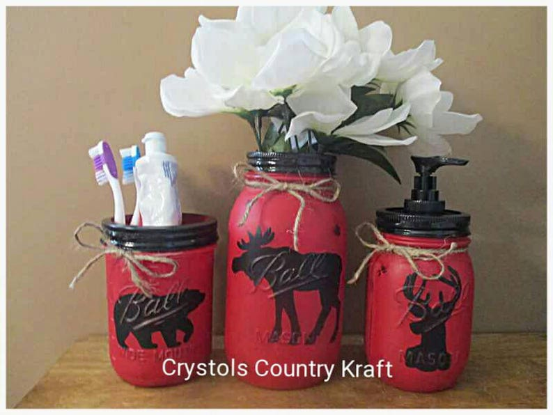 deer soap jar mason jars Red and black  bathroom storage set moose vase plus 2 small jars bear toothbrush holder lodge theme cabin
