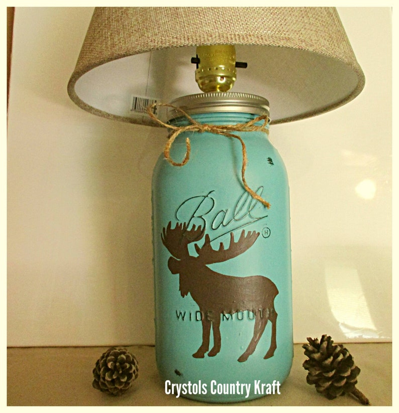 moose decor Moose table lamp moose table lamp woodland animal decor cabin lamp nursery lamp bedside lamp mason jar lamp woodland lamp