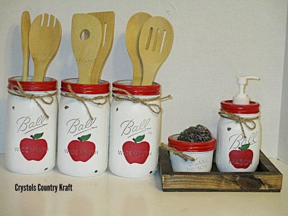 Apple canisters, apple kitchen set, utensil jar, apple soap dispenser ,  apple sugar jar. Red apple mason jars caniste with rustic wood boxes