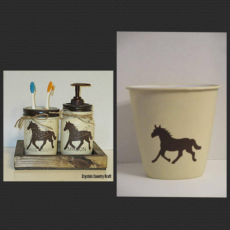 ranch theme horse bathroom decor Horse soap and toothbrush holder set with horse trash can horse bathroom decor western bathroom decor