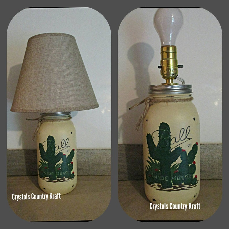 western lamp Mason jar lamp cactus southwestern decor Cactus lamp Lamp shade sold separately from lamp base table lamp, lamp