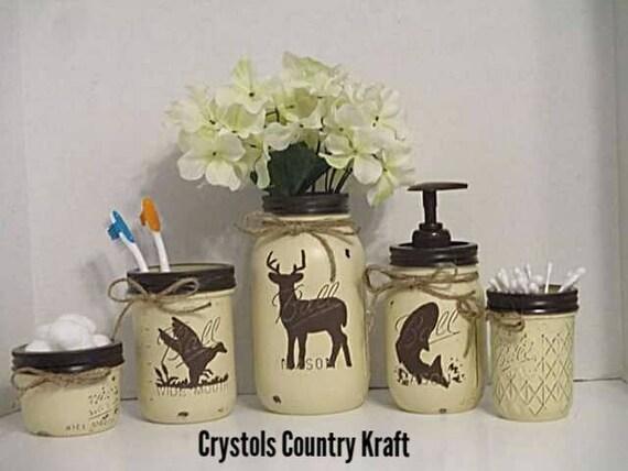 Deer, Duck Hunting, Bass Fish Bathroom Decor, Bass Soap Pump,duck  Toothbrush Holder, Deer Vase, Woodland Animal Decor, Hunting Cabin Decor,