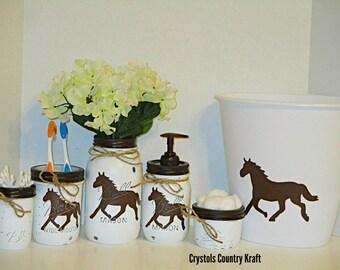 Horse bathroom décor, Horse soap and toothbrush jar, ranch décor, horse trash can, Western bathroom set, Horse décor, western toothbrush jar