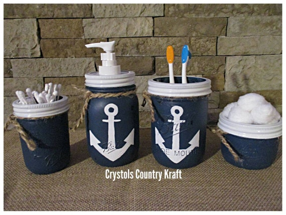 Anchor Bathroom Decor Beach Bathroom Set Nautical Bathroom | Etsy
