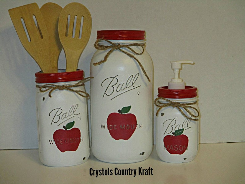Apple canisters, apple kitchen set, utensil jar, apple soap dispenser ,  apple sugar jar. Red apple decor, Country rustic mason jars
