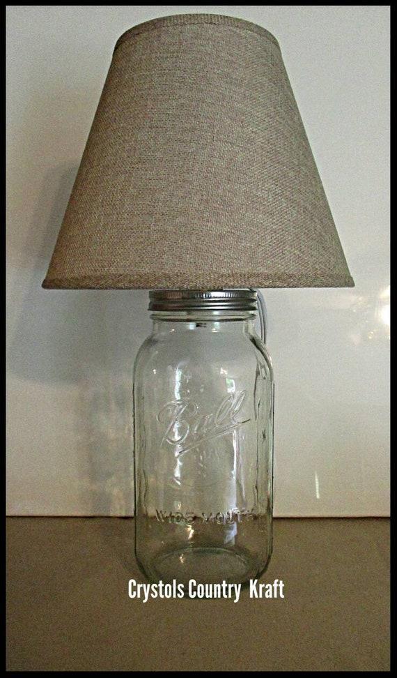 Rustic Lamp Fillable Mason Jar Lamp Burlap Lamp Shade 1 2 Gallon Mason Jar Lamp Electric Lamp Glass Lamp Country Lamp Farmhouse Lamp