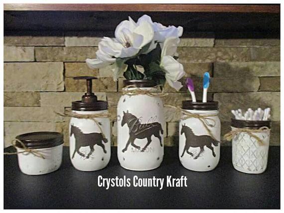 Superbe Horse Bathroom Decor Horse Soap Jar Horse Toothbrush Holder | Etsy