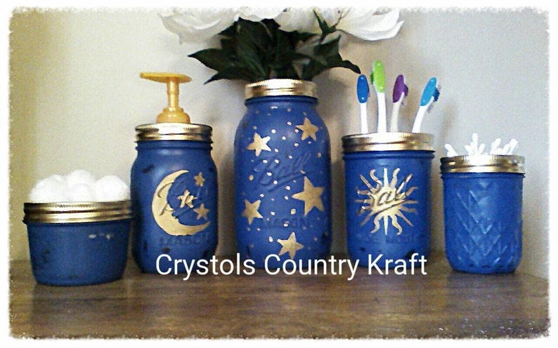 Celestial Bathroom Set Moon Stars Sun Bathroom Decor Etsy