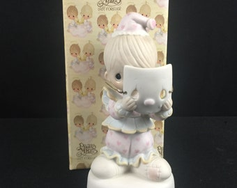 PROFITS FUND ADOPTION! : Vintage Precious Moments I Get A Bang Out Of You Bisque Porcelain Clown wBalloons Figurine 1984 Enesco Gift