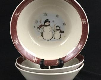 Vintage Vegetable Serving Bowl 10 by Royal Seasons Stoneware Snowmen Winter Scene RN2 Christmas