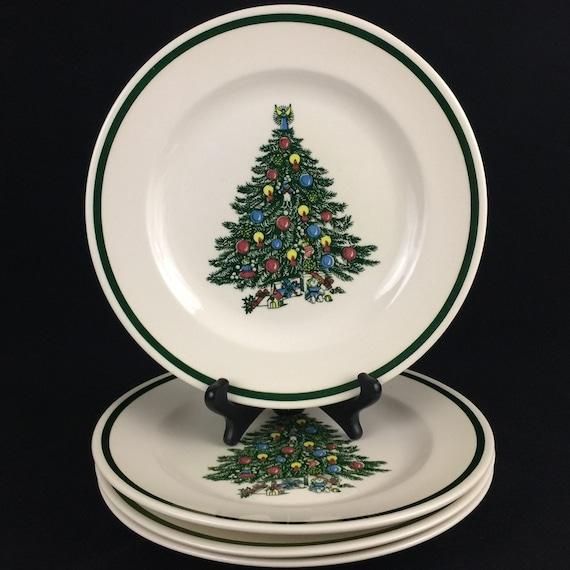 Set of 4 Vintage Salad Plates by Royal China Company Christmas Tree RYL81 Sebring OH Made in USA