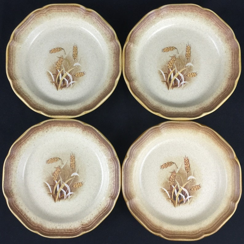 Set of 4 Vintage Salad Dessert Plates 8 by Mikasa Whole Wheat GRANOLA E8001 Made in Japan