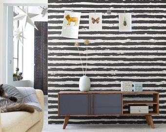 Wall stripes | Stripe wall cover | Removable wallpaper | Any color mural | Striped wall mural | Temporary wallpaper  #11