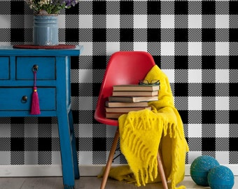 Gingham check pattern || Self Adhesive Removable Wallpaper || Peel and stick || Temporary wallpaper || Check pattern #2