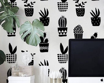Geometric cacti pattern, simple black and white wallpaper, self adhesive, removable, reusable #68