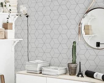 Gray geometric cubes pattern, removable wallpaper, scandinavian style #65