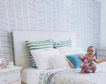 Herringbone pattern self adhesive removable wallpaper || Peel and stick || Geometric pattern wall mural    #1