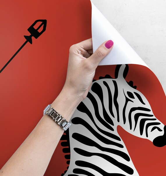 Red flying zebra wallpaper | Abstract wall decor | Jumping zebras print |  Retro wall decal | Animals wallpaper #157