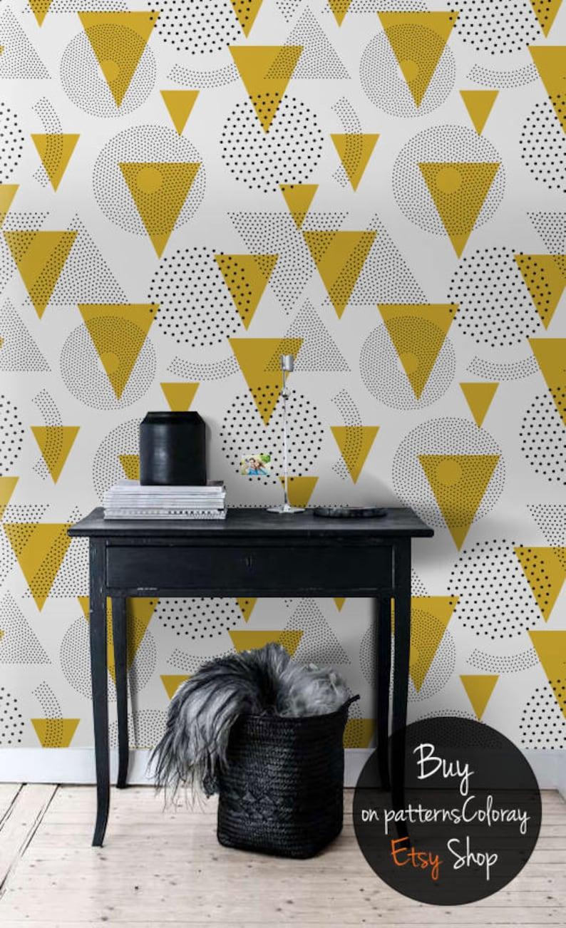 Moutarde Geomtric Papier Peint Amovible Motif Géométrique Etsy