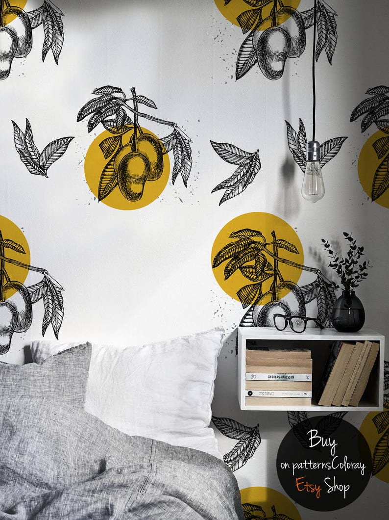 Peel and stick Wallpaper Repositionable Wallpaper  #155 Tropical fruits removable wallpaper Mango with Leaves Pattern