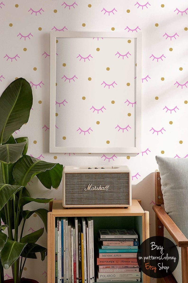 Goodnight Wallpaper Pink Abstraction Pattern Geometric Gold Etsy