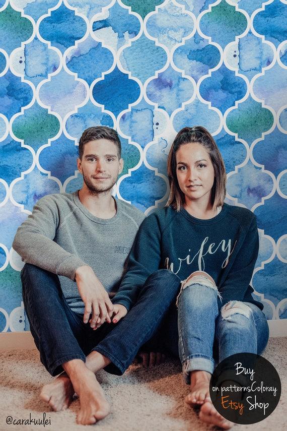 peler et coller aquarelle de papier peint motif marocain. Black Bedroom Furniture Sets. Home Design Ideas