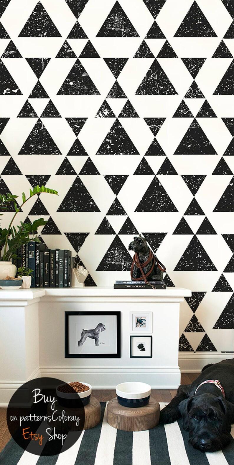 Grunge Triangle Removable Wallpaper Modern Design Black Etsy