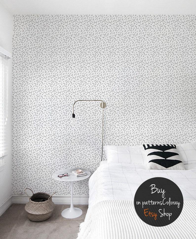 Nahtloses geometrische Muster in 80er Jahre retro Stil Tapeten, grauen und  weißen, wiederverwendbar, herausnehmbaren #89