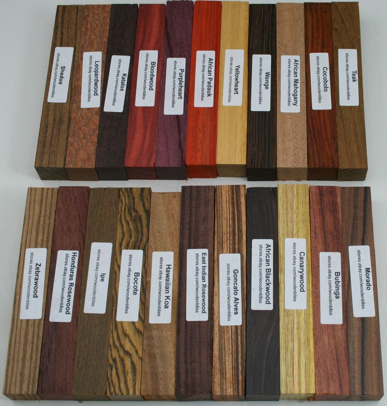 22 Different Exotic Wood Pen Blanks 3/4 x 5 image 0
