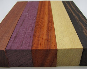 "Exotic Wood Pen Blanks 3/4"" by 5"" Purpleheart, Wenge, African Paduak, Yellowheart, Bloodwood M-5"