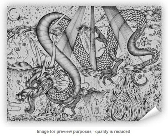 Dragon Art Print Animal Art Prints Posters Japanese Dragon Mythical Pen And Ink Drawing Decorative Wall Art For Your Home