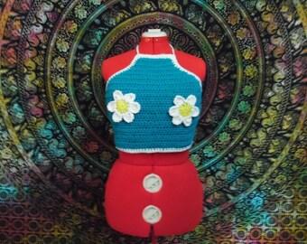 Crochet Blue Daisy Festival Top Size M, L, XL