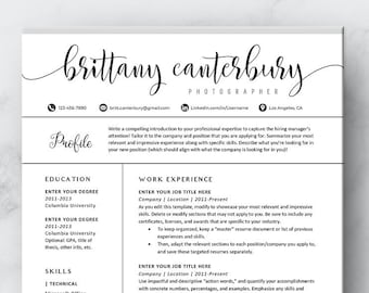 Modern Resume Template Word Sorority Resume Template With Etsy