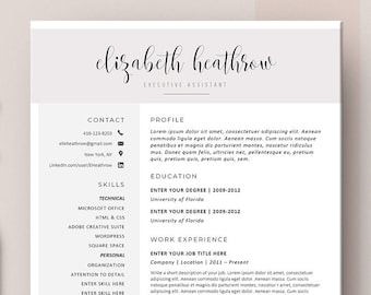 Professional Resume Template For Word Pages 1 2 And 3 Etsy